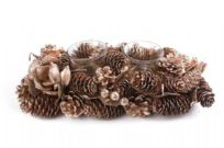 Gold Christmas Pinecone Double Candle Holder